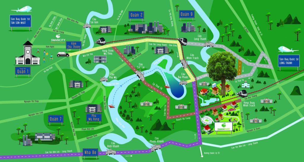 vị trí dự án khu đô thị swanpark